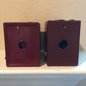Two vintage cameras for display